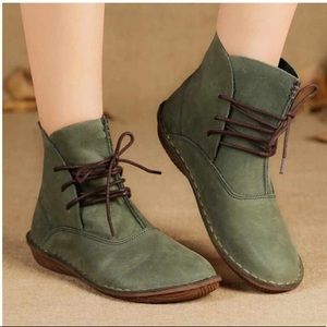 Whensinger Green Lace Up Ankle Booties